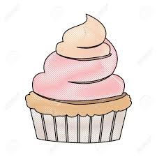 crayon silhouette of hand drawing color cupcake with pink and vainilla buttercream decorative vector illustration Stock