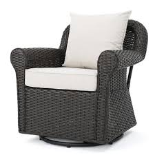 Noble House Amaya Dark Brown Swivel Wicker Outdoor Lounge Chair With ...