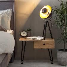 nachtkonsole aus akazie massivholz und stahl loft design