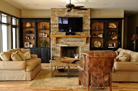 Lighted Black Oak Wood Display Bookcase With Rustic Stone Fireplace Splendid Built In Bookcases Around