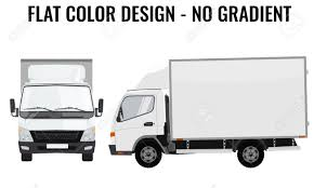 Vector Small Truck Front View And Side View. Cargo Delivery. Solid ...