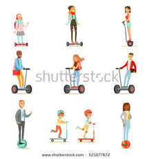 Illustration By Vector Tradition People Riding Electric Self Balancing 34KB 450x470