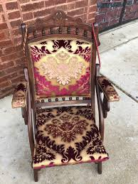 Antique Victorian Style Folding Chair Newly Upholstered