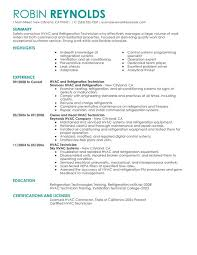 HVAC And Refrigeration Resume Sample