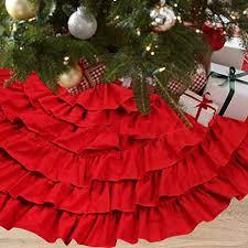 NIGHT GRING 36 Inch Christmas Decorations Burlap Ruffled Xmas Tree Skirt