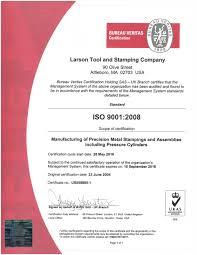 us bureau veritas certification iso 9001 2008 larson tool