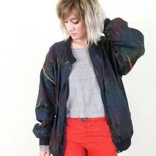 Vtg 90s Black Rainbow Jacket 1990s Windbreaker Colorful Vintage 80s Tumblr