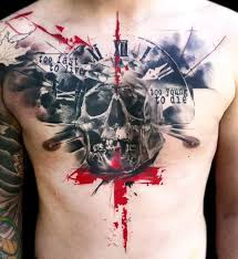 Abstract Skull With Clock Tattoo On Man Chest