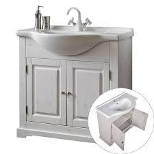 badezimmer möbel set inkl waschtisch mit keramik waschbecken liria 56 massivholz weiß b x h x t ca 145 x 200 x 43 cm