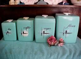 price reduced turquoise retro vintage kitchen canister set of four