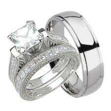His and Hers Wedding Ring Set Matching Trio Wedding Bands for Him Titanium and