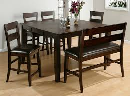 small dining room sets with brown wooden bench with back using