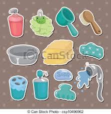 badezimmer ausrüstung karikatur aufkleber canstock