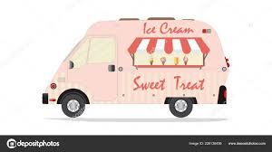 100 Ice Cream Truck Business Plan Side View Modern Van Transport Flat Vector Stock