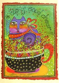 Leanin Tree Horse Christmas Cards by Laurel Burch Cup Of Good Cheer Purple Kitty Cat Christmas Holiday