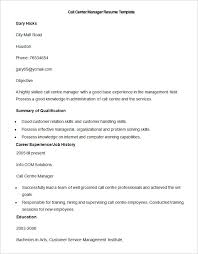 Call Centre Manager Resume Template Details File Format
