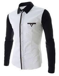 M 2XL 2015 Top Brand Men Shirt Black Patchwark Button Mens Cotton