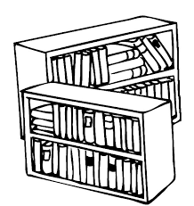 Bookshelf Library Colouring Page
