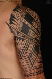 Attractive Black Ink Polynesian Tribal Tattoo On Half Sleeve