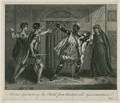 Illustration Of Aaron Protecting His Son From Chiron And Demetrius In Act 4 Scene 2 Joseph Graves Dramatic Tales Founded On Shakespeares Plays