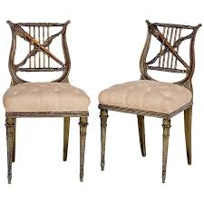 Lyre Back Chairs History by Pair Of Antique French Napoleon Iii Period Paint And Gilt Lyre