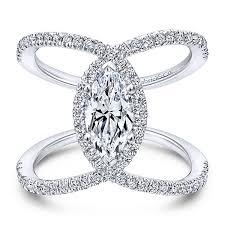Gabriel Aurora 14k White Gold Marquise Halo Engagement Ring