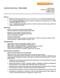 Home Economics Teacher Resume Example