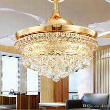 2018 Modern Invisible Blades Ceiling Fans Crystal Retractable Belt Pendant Lamp With Led Lights Folding Fan Dining Room Chandelier From Ok360