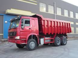 Red 16 Tons Large Dump Truck , Heavy Load Truck 6x4 Dump Truck
