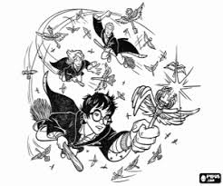 Harry Potter And Friends Quidditch Training Of Coloring Page