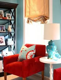 Red Living Room Ideas Pinterest great room makeover with red and turquoise throw pillow as accent