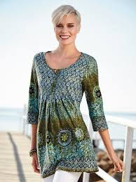 green cotton top in a tunic style dark teal multicoloured