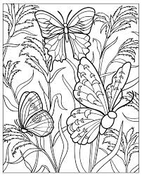 Free Coloring Page Difficult Butterflys Several Beautiful Butterflies With Wings Full Of Details In A Garden Plants