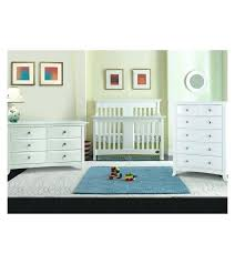 Babyletto Modo 5 Drawer Dresser White by White Crib Furniture Set Lifestyle 3 Piece Nursery Set In Classic
