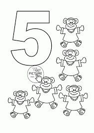 Beautiful Inspiration Number 5 Coloring Page Pages For Kids Counting Sheets Printables Free