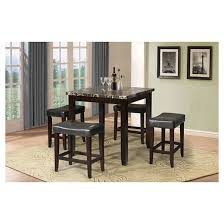 ainsley 5 piece counter height dining set black faux marble and