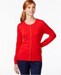 tommy hilfiger embellished button down cardigan in red lyst