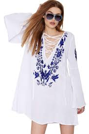 2017 2016 women loose bohemian mini dress summer vintage ethnic