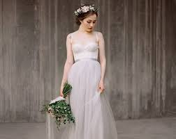 Boho Wedding Dress Icidora Grey Lace Gown Tulle Ballet Inspired Simple