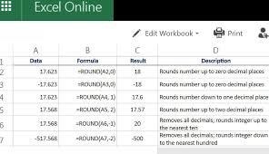 rounding numbers in excel online