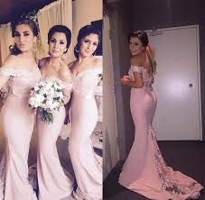 blush peach pink cheap bridesmaid dresses long 2016 off the