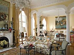 Yellow glazed walls brighten the double parlor where columns