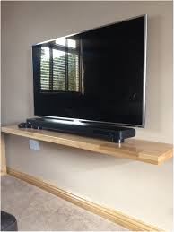 Floating Shelf Under Wall Mounted Tv Brown Wooden Gallery