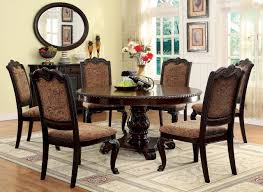 6 Seater 60 Bellagio Brown Cherry Round Table With Fabric Chairs