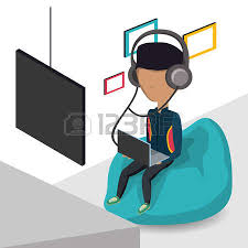 Young Man With Headphones And Laptop Computer Sitting On A Bean Bag Chair Icon Colorful Design