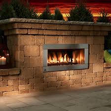 Contemporary Stone Outdoor Gas Fireplace Kit