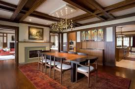 Dining Room Electric Fireplace Entertainment Transitional With Interior Designers And Decorators Frank Lloyd Wright
