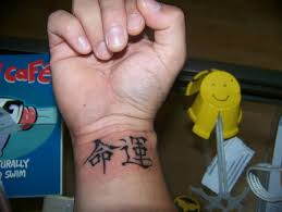 Wonderful Chinese Symbol Tattoo Design Make On Wrist
