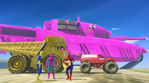 SpiderMan Party With Giant Truck Spider Monster Vs Super Mega Pink ...