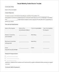 Microsoft Marketing Student Resume Template Example